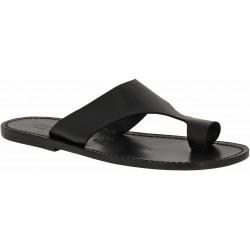 Sandalias de cuero negro para hombres hecho a mano en Italia