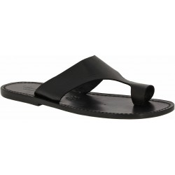 Black leather thong sandals for men Handmade in Italy