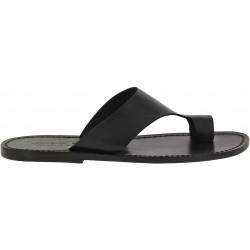 Sandale tong artisanales en cuir noir pour homme