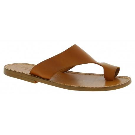 Sandale tong en cuir marron claire pour homme artisanales