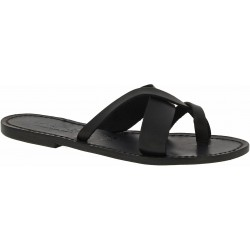 Women's thong sandals Handmade in Italy in black calf leather