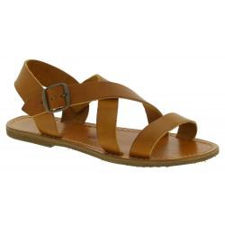 Sandalias en cuero marrón para mujer hechos a mano en Italia
