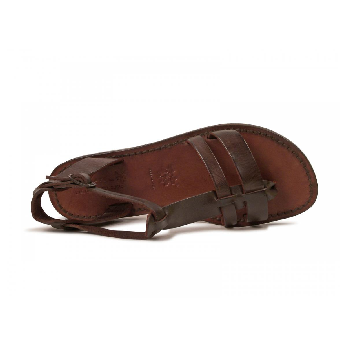 Women S Leather Flat Brown Sandals Handmade In Italy