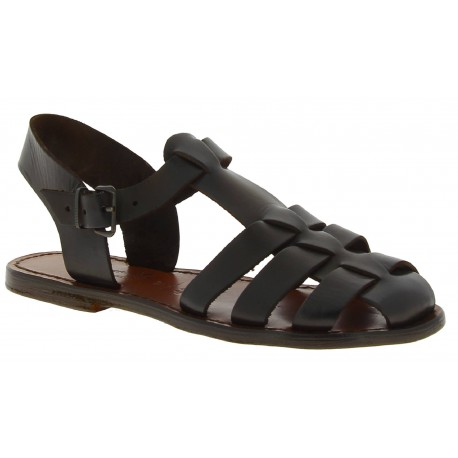 Dark brown flat sandals for women real leather Handmade in Italy