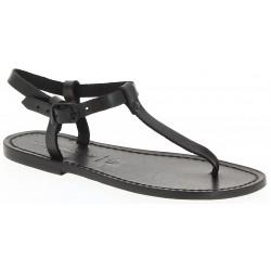 Sandales cuir femmes noir travaillées à la main