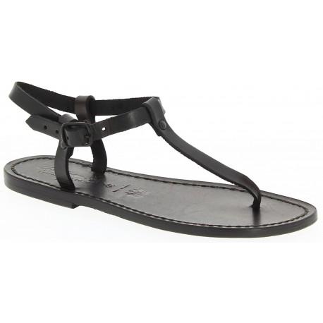 Sandalias en cuero negro hecha a mano en Italia