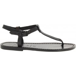 Thong sandals in black leather handmade in Italy