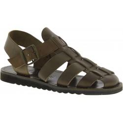 Sandales en cuir boue artisanales pour homme semelle caoutchouc épais