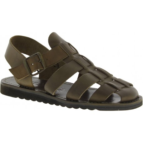 Handmade men's sandals in mud color leather thick rubber sole