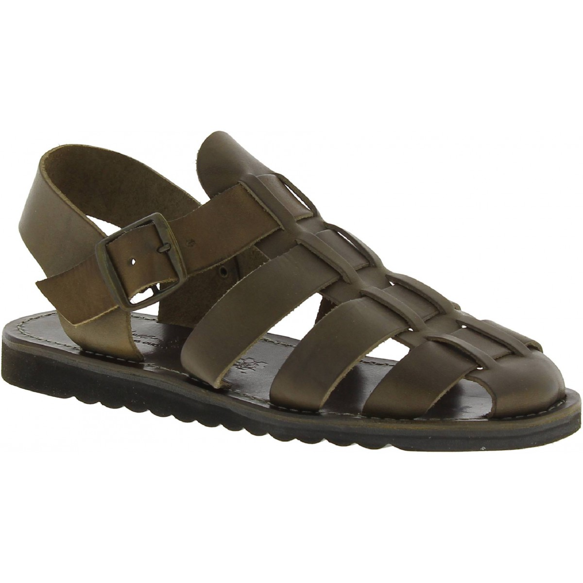 22a9165cb48 Handmade men s sandals in mud color leather thick rubber sole. Loading zoom