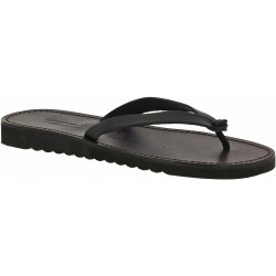 Black leather thongs sandals for men with thick rubber sole