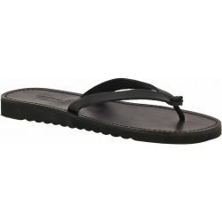 Sandalias de cuero negro para hombres con suela de goma gruesa