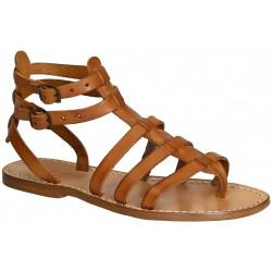 Sandalias gladiador plana para las mujeres hecho a mano en Italia en cuero cuir