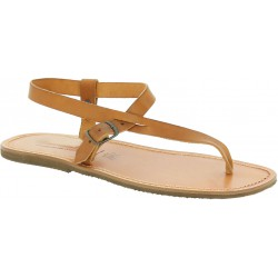 Sandali infradito in cuoio marrone chiaro artigianali