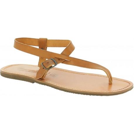 Herren Flip-Flop-Sandalen aus hellbraunem Leder in Italien von Hand gefertigt