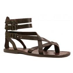 Herren-Sandalen im Gladiator-Stil aus braunem Leder in Italien von Hand gefertigt