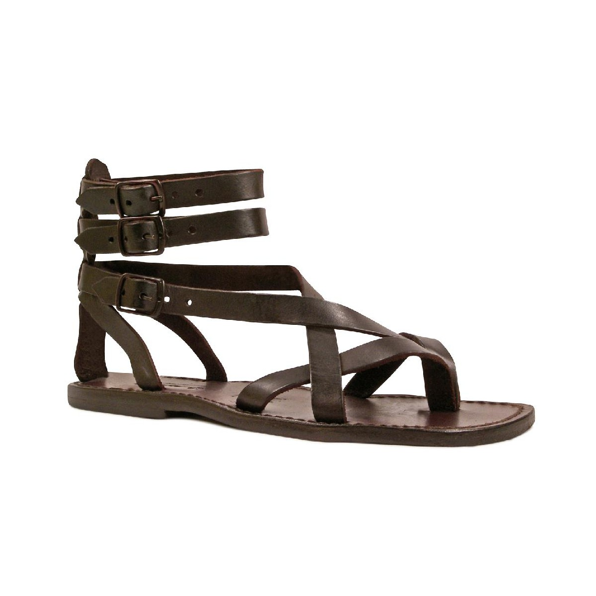 sandales gladiateur homme en cuir marron artisanales. Black Bedroom Furniture Sets. Home Design Ideas