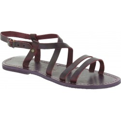 Damen Riemchen-Sandalen aus Pflaume Leder in Italien von Handgefertigt