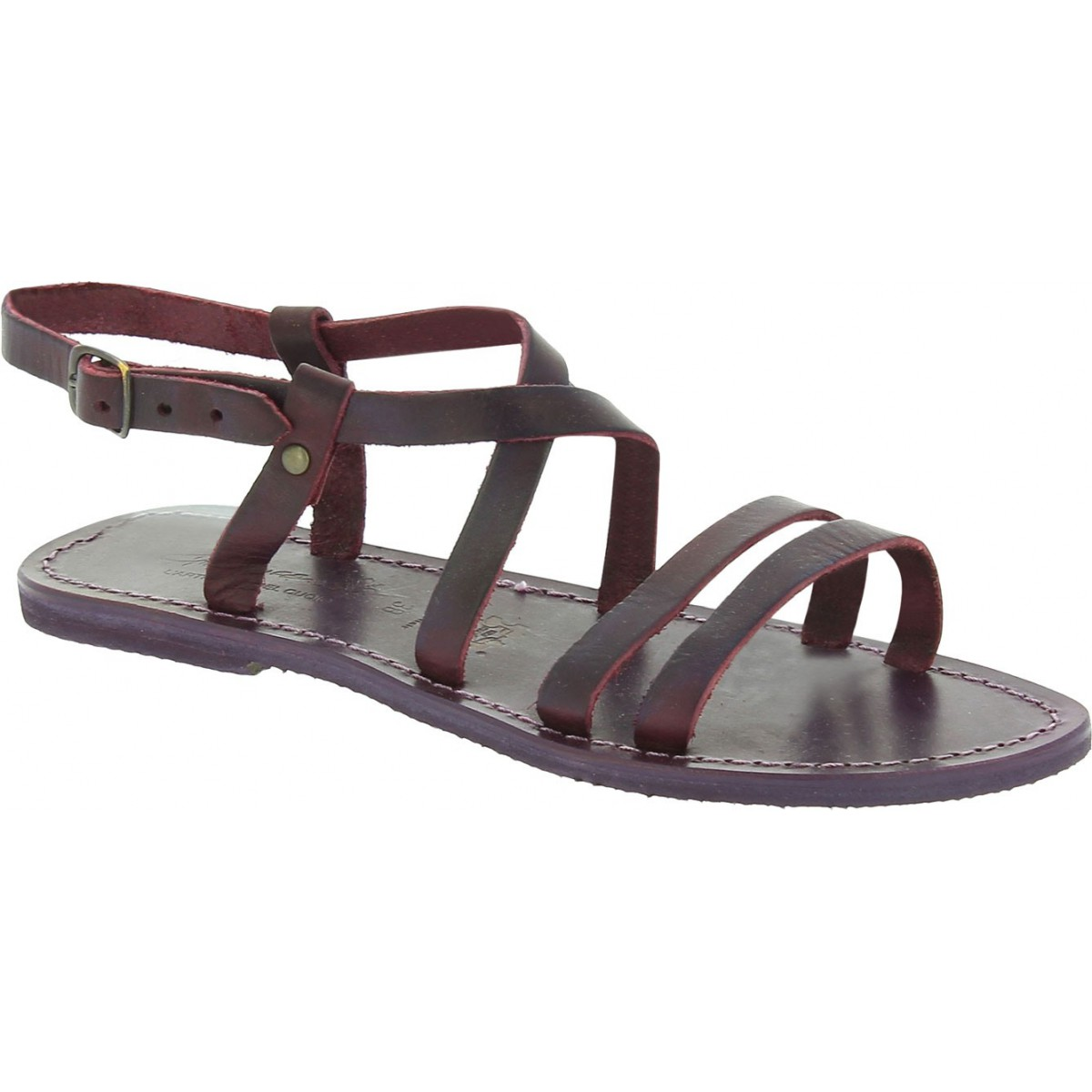 b150a506103 Women s violet leather sandals handmade in Italy. Loading zoom