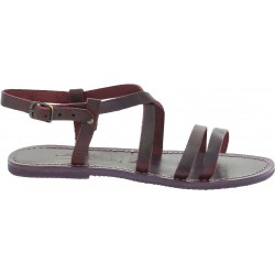 Women's violet leather sandals handmade in Italy