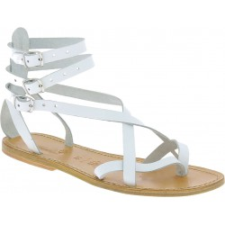 Handmade in Italy womens strappy sandals in white leather
