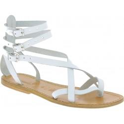 Sandales spartiates pour femme en cuir travaillé à la main blanc
