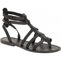 Sandalias gladiador negro para las mujeres reales de cuero hecho a mano en Italia