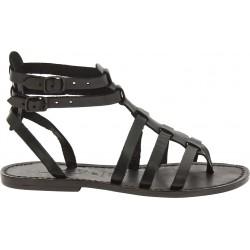 Schwarze Damen-Sandalen im Gladiator-Stil aus Leder in Italien von Handgefertigt