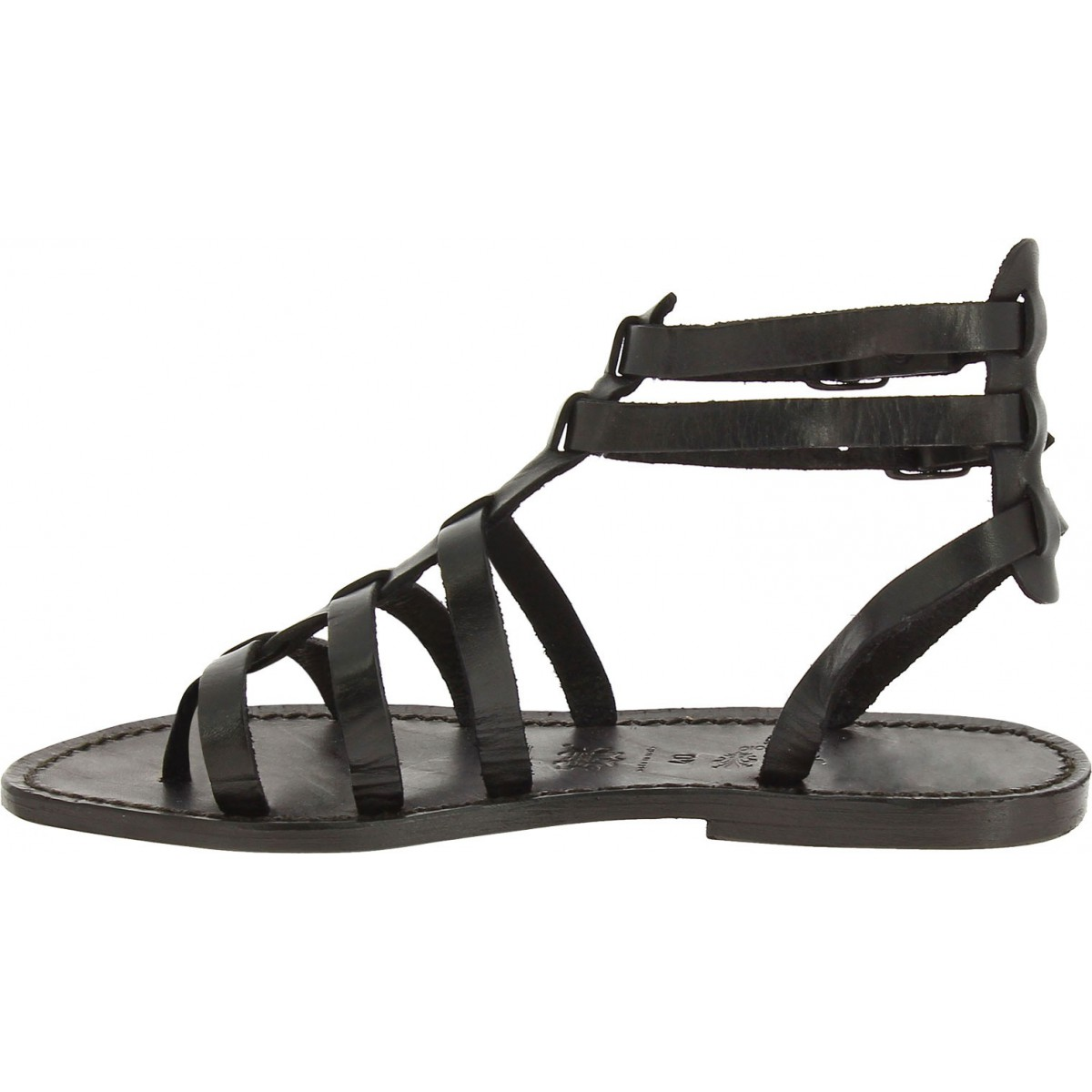 53be9019fe9b ... Black gladiator sandals for women real leather Handmade in Italy ...