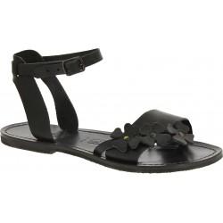 Sandali bassi donna artigianali in pelle color nero