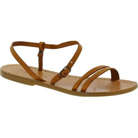Handgefertigte lederfarbig flache Sandalen für Damen