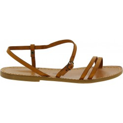 Sandales plates en cuir marron claire pour femme
