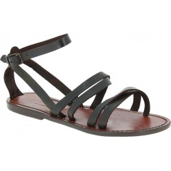 Handmade women's flat sandals dark brown leather