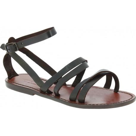 Hand gefertigte Damen-Sandaletten aus dunkelbraunem Leder