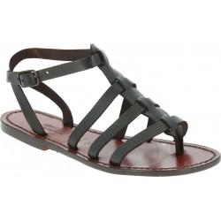 Sandalias gladiador marrón oscuro para mujer de cuero hecho a mano en Italia