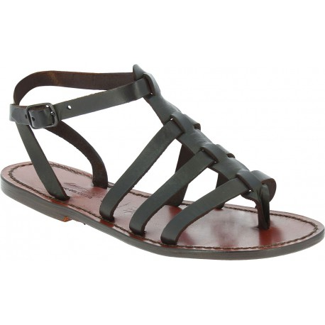 Women's dark brown gladiator sandals Handmade in Italy