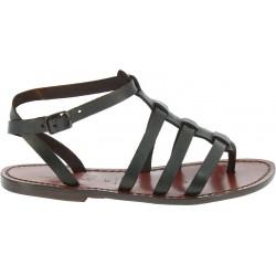 Sandales spartiates pour femme en cuir marron foncé