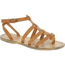 Handmade gladiator flat sandals in leather for women