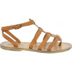 Sandale spartiate tong en cuir effet vintage pour femme