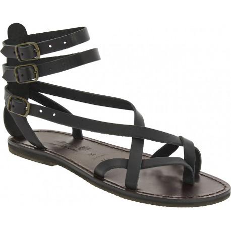 Hecho a mano en Italia sandalias esclavo en cuero negro