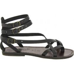 Handgefertigte Damen-Sandalen im Slave-Look aus Schwarze Leder