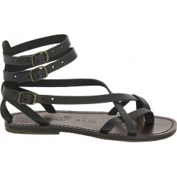 Handmade in Italy women's slave sandals in black leather