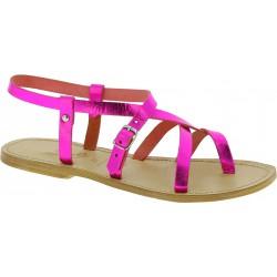 Damen-Riemchen-Sandalen mit fuchsie Laminierung in Italien von Hand gefertigt