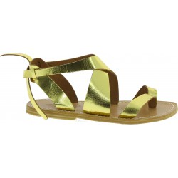 Women's sandals in metallic gold leather handmade in Italy