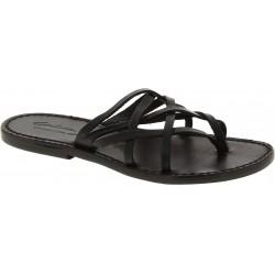 Tiras de cuero para mujer zapatillas con suela de cuero negro hecho a mano de la trenza