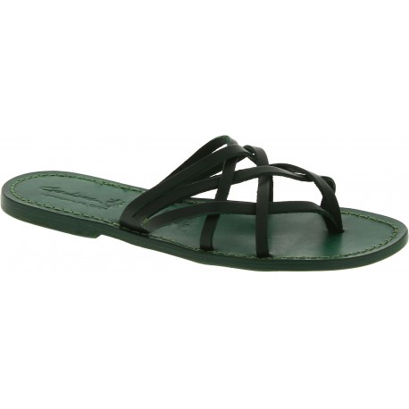 Handmade green strips leather womens slides thongs and leather sole