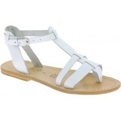 Sandali gladiatore da donna in pelle bianca con suola naturale