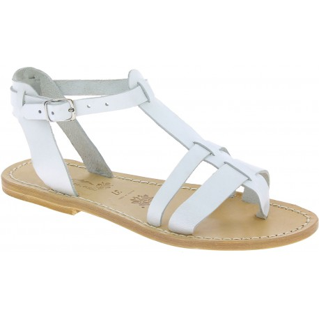 Sandales spartiate pour femme en cuir blanc