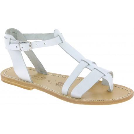 Sandalias planas de cuero blanco para mujer hecho a mano en Italia