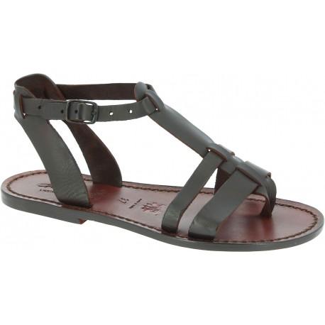 Las mujeres de cuero sandalias planas marrón hecho a mano en Italia